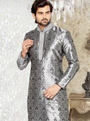 Stone Work Brocade Grey Kurta Pyjama