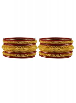 Stone Work Gold and Maroon Bangles
