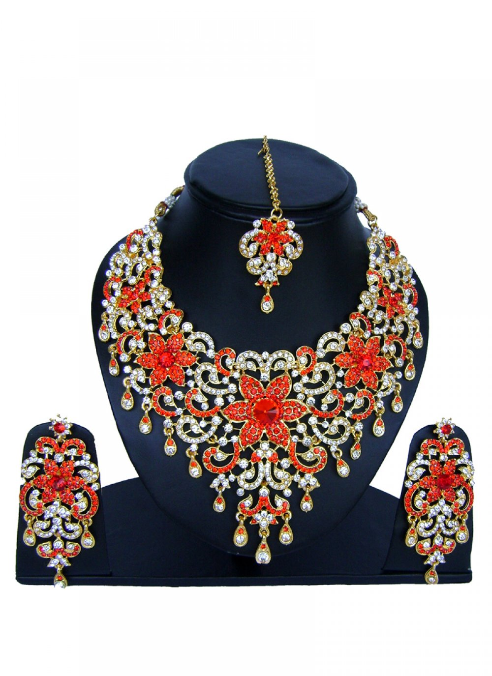 Stone Work Gold and Red Necklace Set