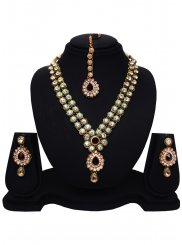 Stone Work Gold Necklace Set