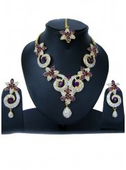 Stone Work Gold, Purple and White Necklace Set