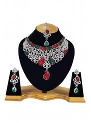Stone Work Green, Off White and Red Necklace Set