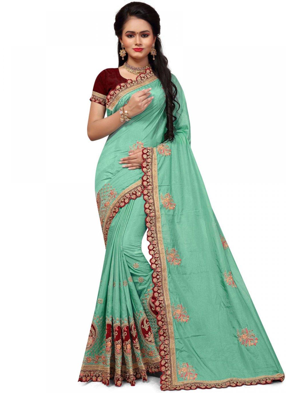 Stone Work Green Silk Classic Saree