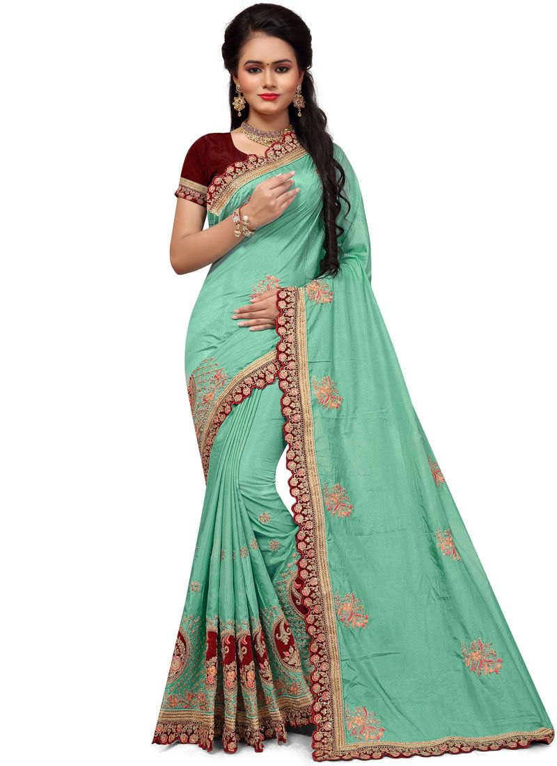 Stone Work Green Silk Classic Saree