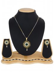 Stone Work Multi Colour Pendant Set