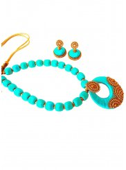 Stone Work Necklace Set in Aqua Blue