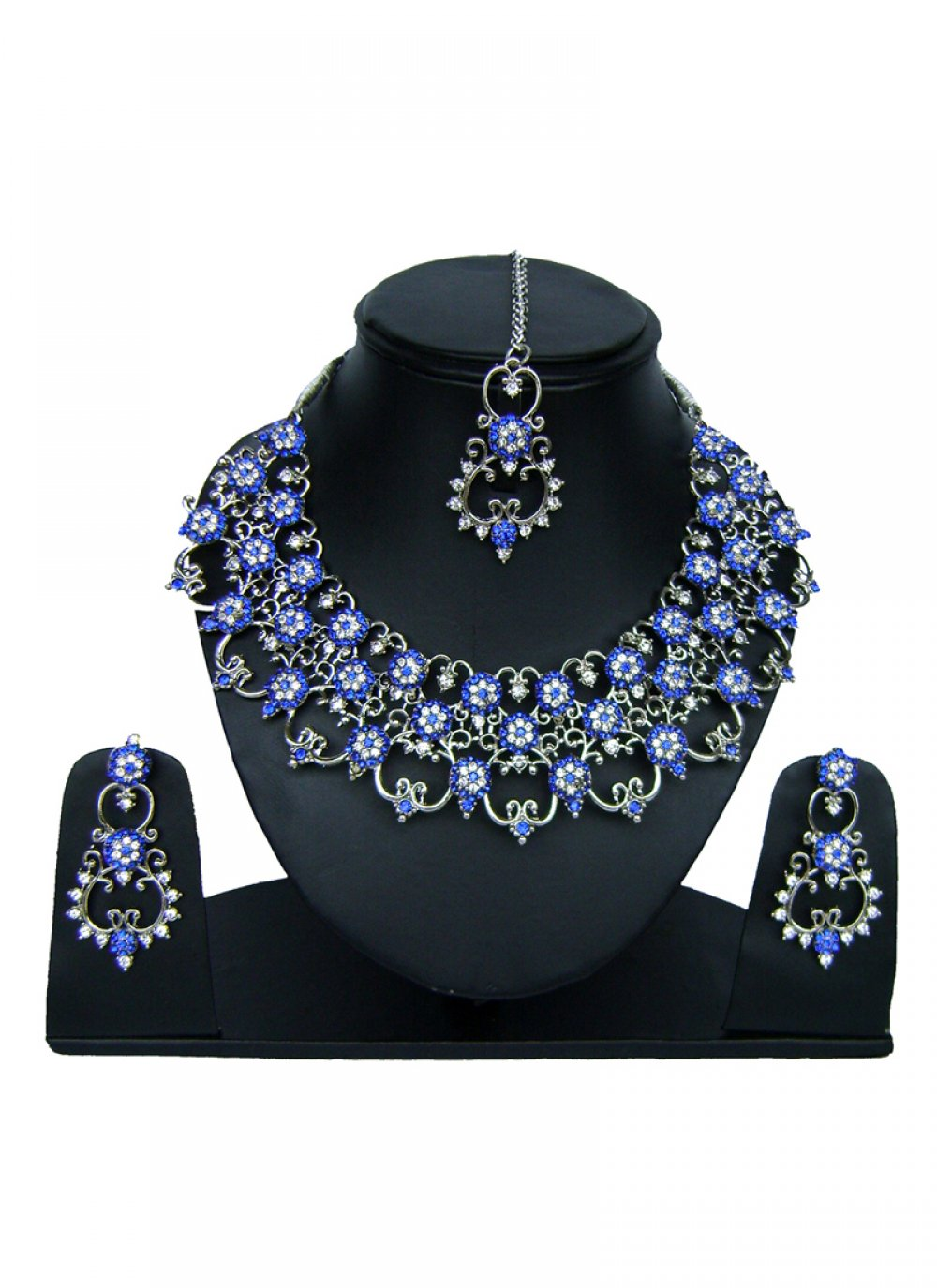 Stone Work Necklace Set in Blue and Silver