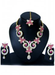 Stone Work Necklace Set in Gold and Hot Pink