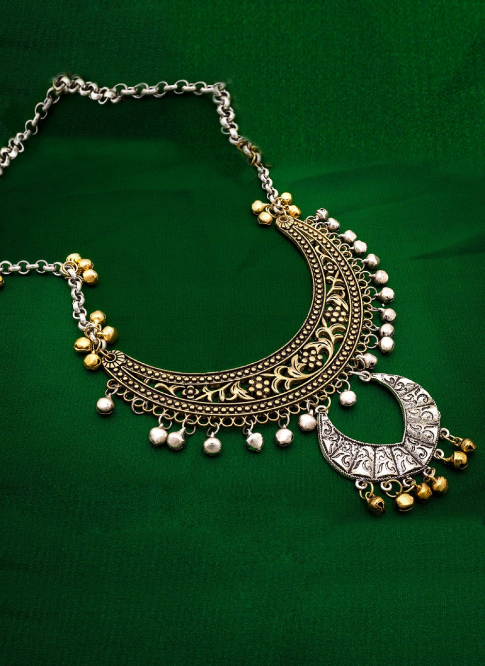 Stone Work Necklace Set in Gold and Silver