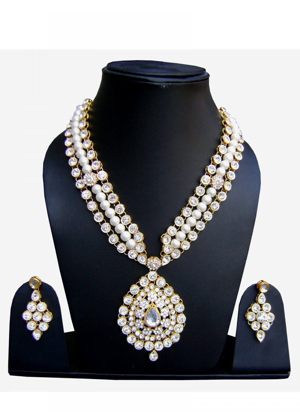 Stone Work Necklace Set in Gold and White