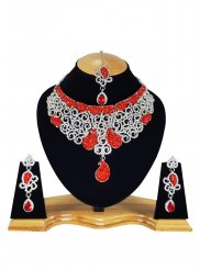 Stone Work Necklace Set in Red and White