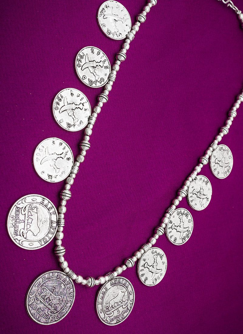 Stone Work Necklace Set in Silver