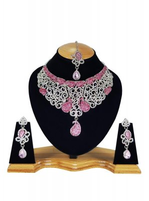 Stone Work Pink and White Necklace Set