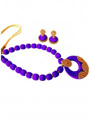 Stone Work Violet Necklace Set