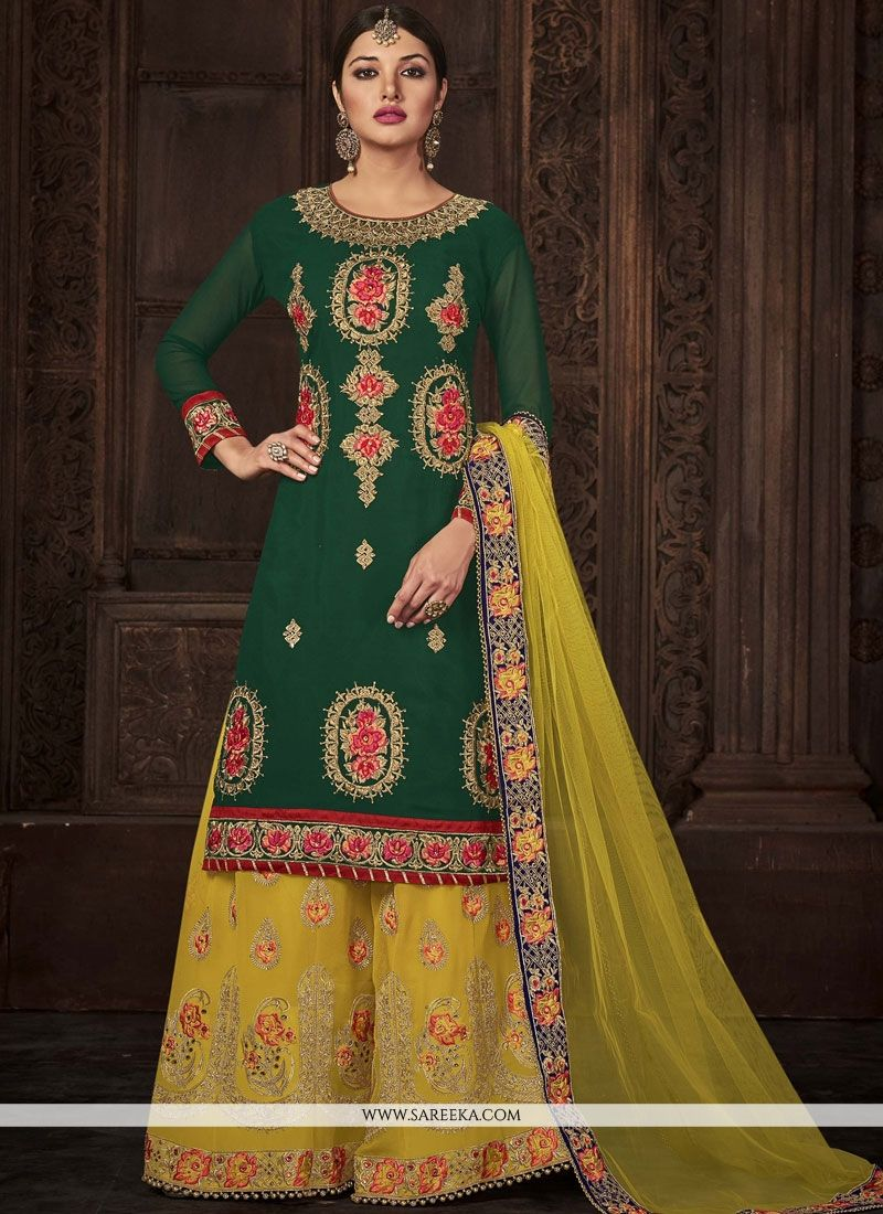 Stone Work Work Green and Yellow Georgette Palazzo Salwar Kameez