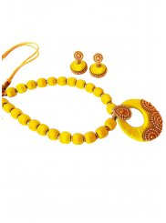 Stone Work Yellow Necklace Set