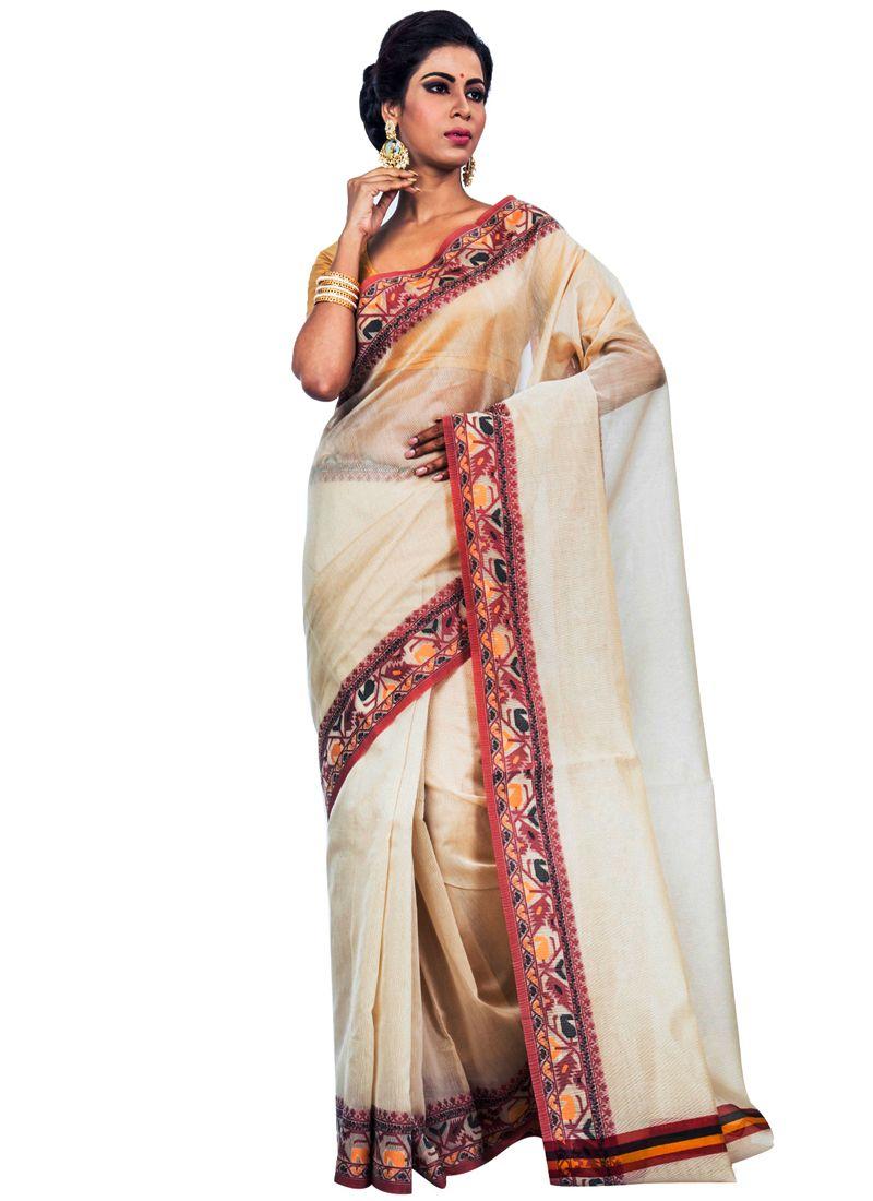 Super Net Resham Beige Classic Designer Saree