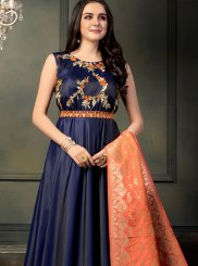 Tafeta silk Embroidered Blue Floor Length Anarkali Suit