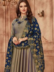 Tafeta Silk Embroidered Grey Readymade Anarkali Suit