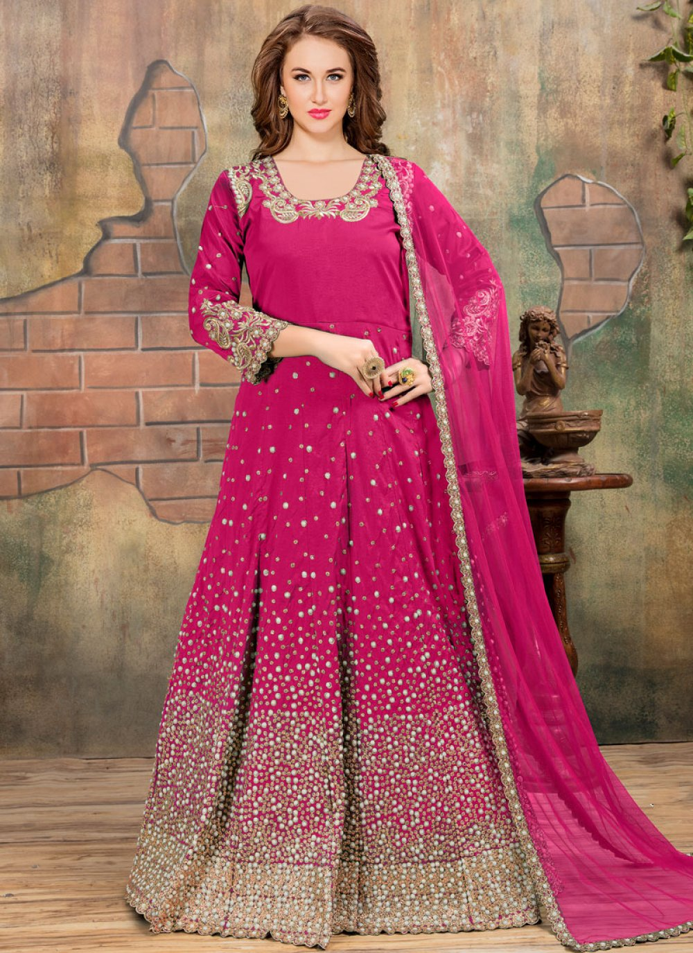 Tafeta silk Embroidered Hot Pink Anarkali Salwar Suit