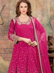 Tafeta silk Embroidered Hot Pink Anarkali Salwar Suit