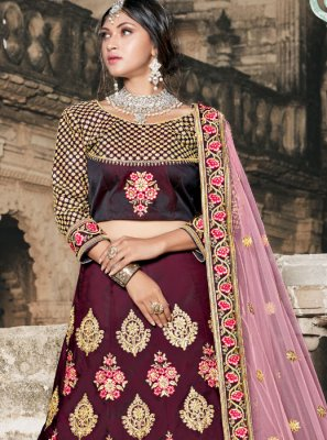 Tafeta silk Embroidered Lehenga Choli