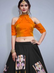 Tafeta Silk Embroidered Readymade Lehenga Choli in Black
