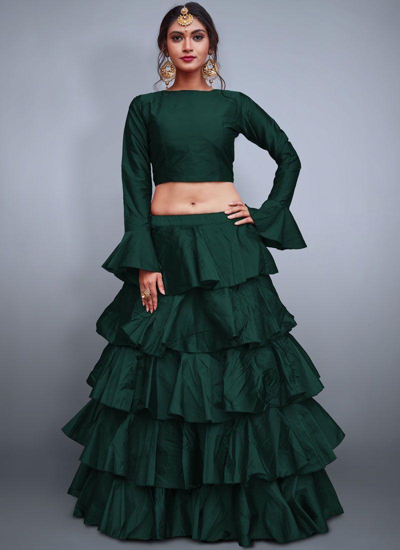 Tafeta Silk Green Readymade Lehenga Choli
