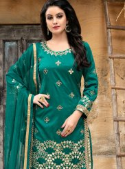 Tafeta silk Lace Punjabi Suit in Sea Green