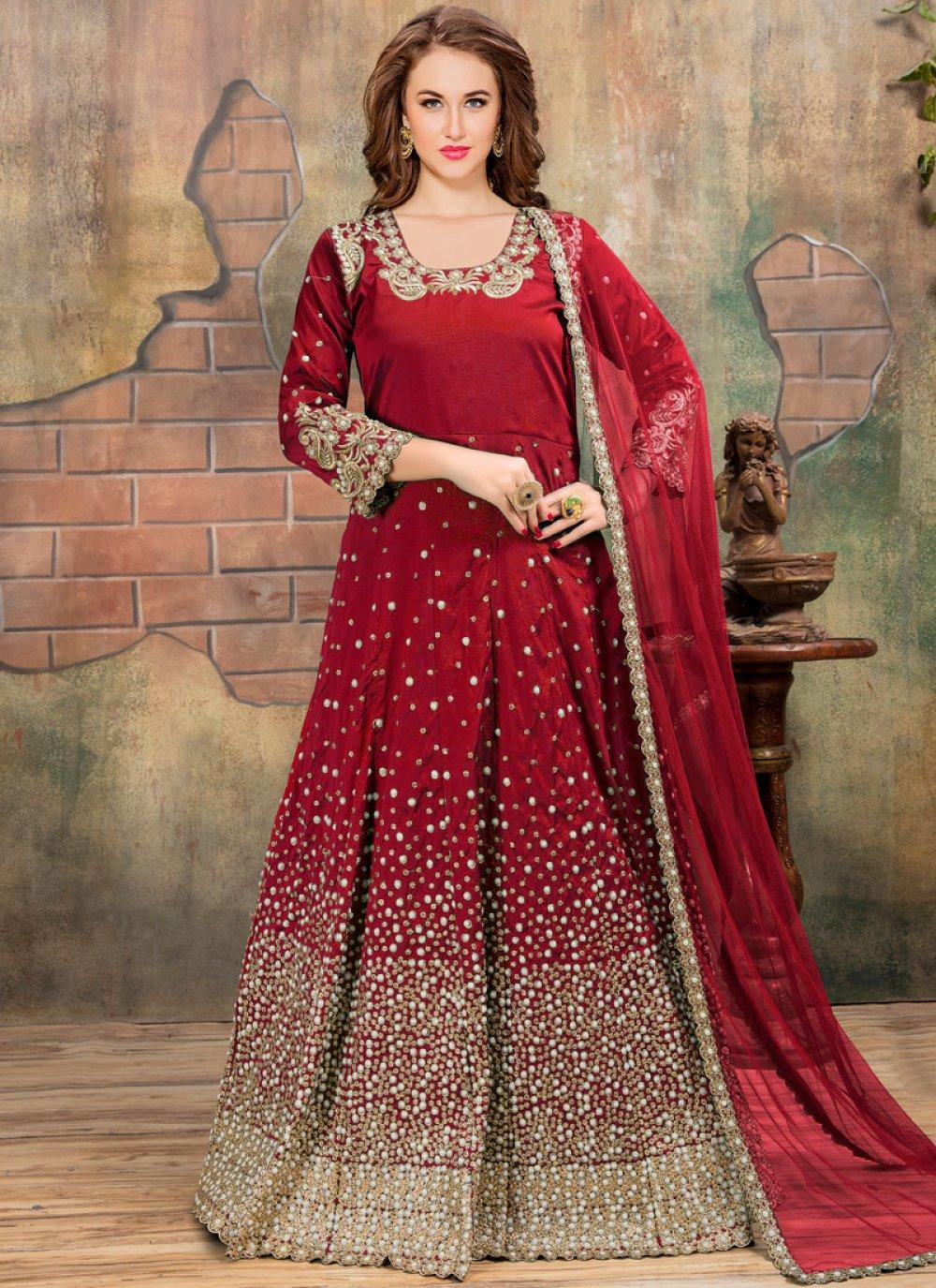 Tafeta silk Lace Work Floor Length Anarkali Suit