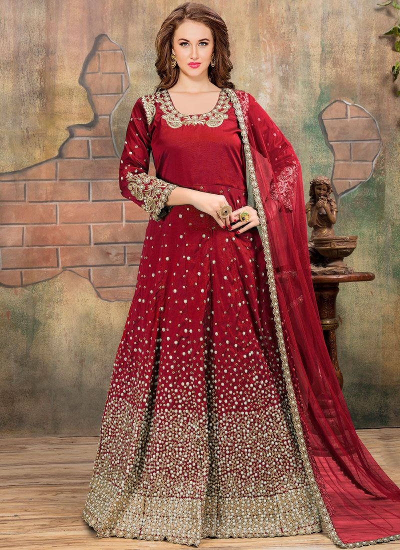 Tafeta silk Lace Work Floor Length Anarkali Suit