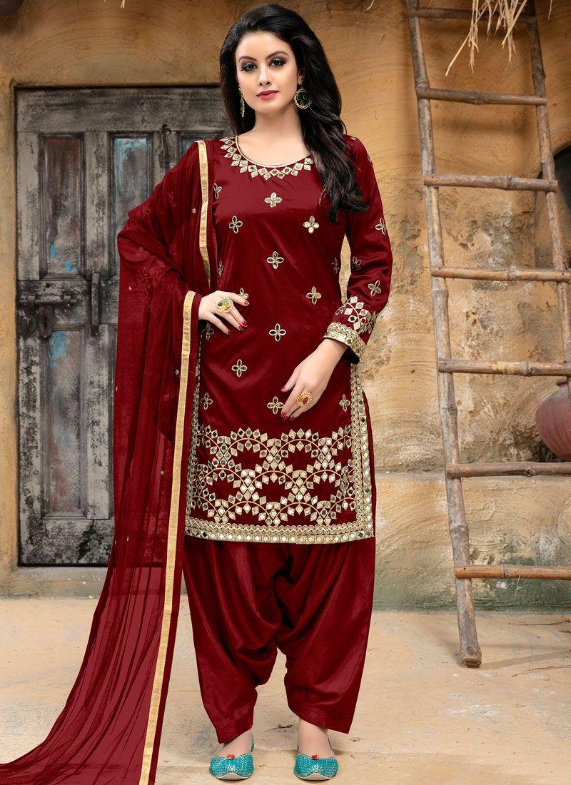 Tafeta silk Maroon Punjabi Suit