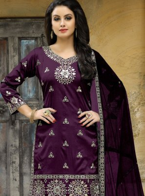 Tafeta silk Mirror Work Punjabi Suit