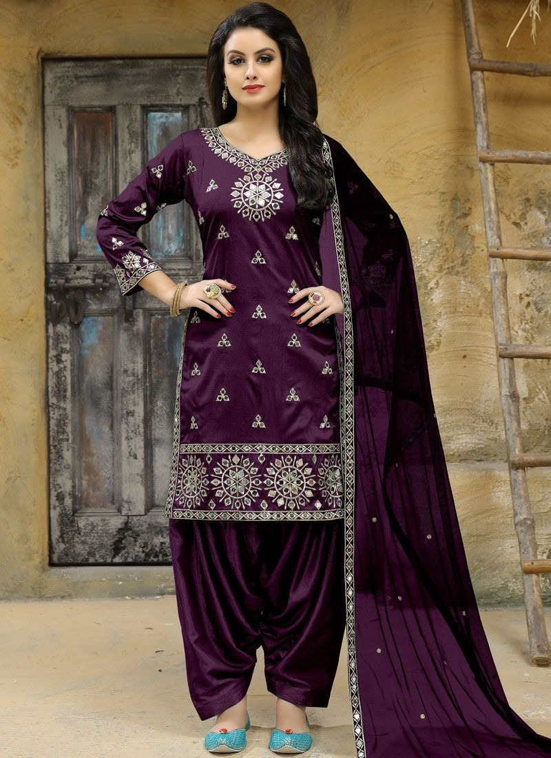 Tafeta silk Mirror Work Punjabi Suit