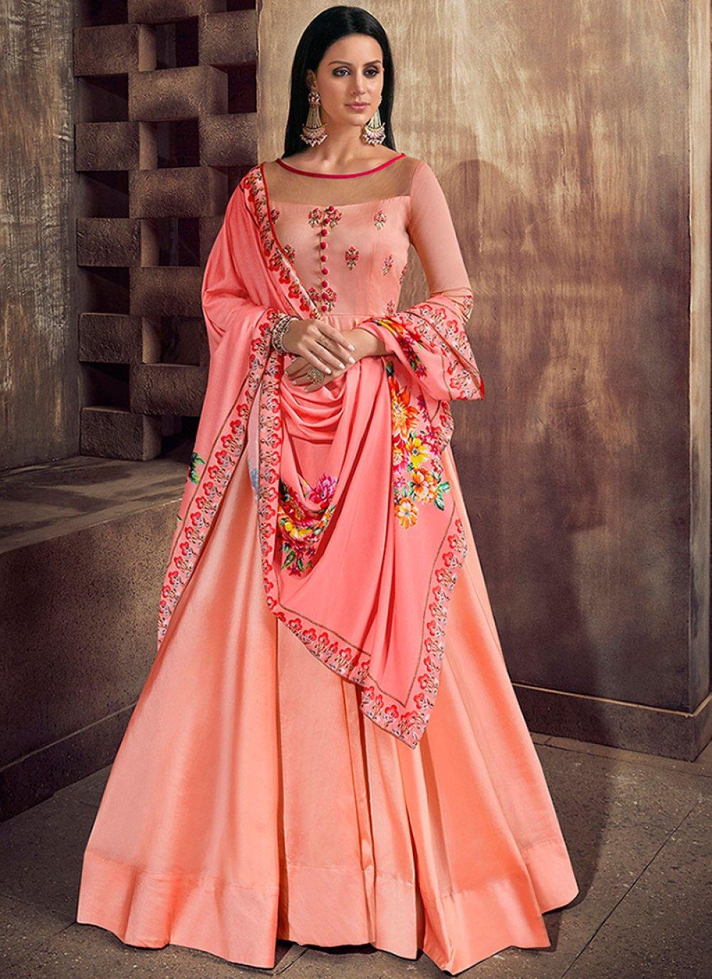 Tafeta Silk Pink Zari Readymade Anarkali Suit