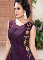 Tafeta silk Purple Designer Gown