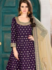 Tafeta silk Purple Floor Length Anarkali Suit