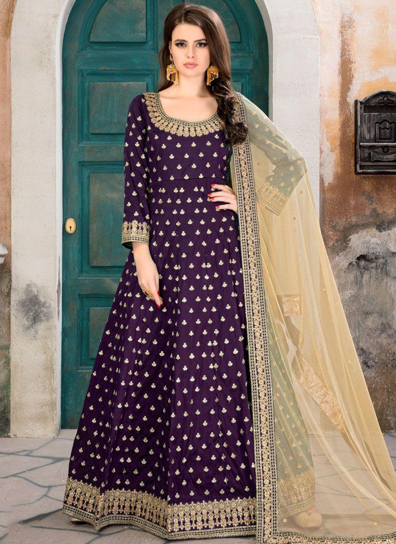 Tafeta silk Purple Floor Length Anarkali Suit