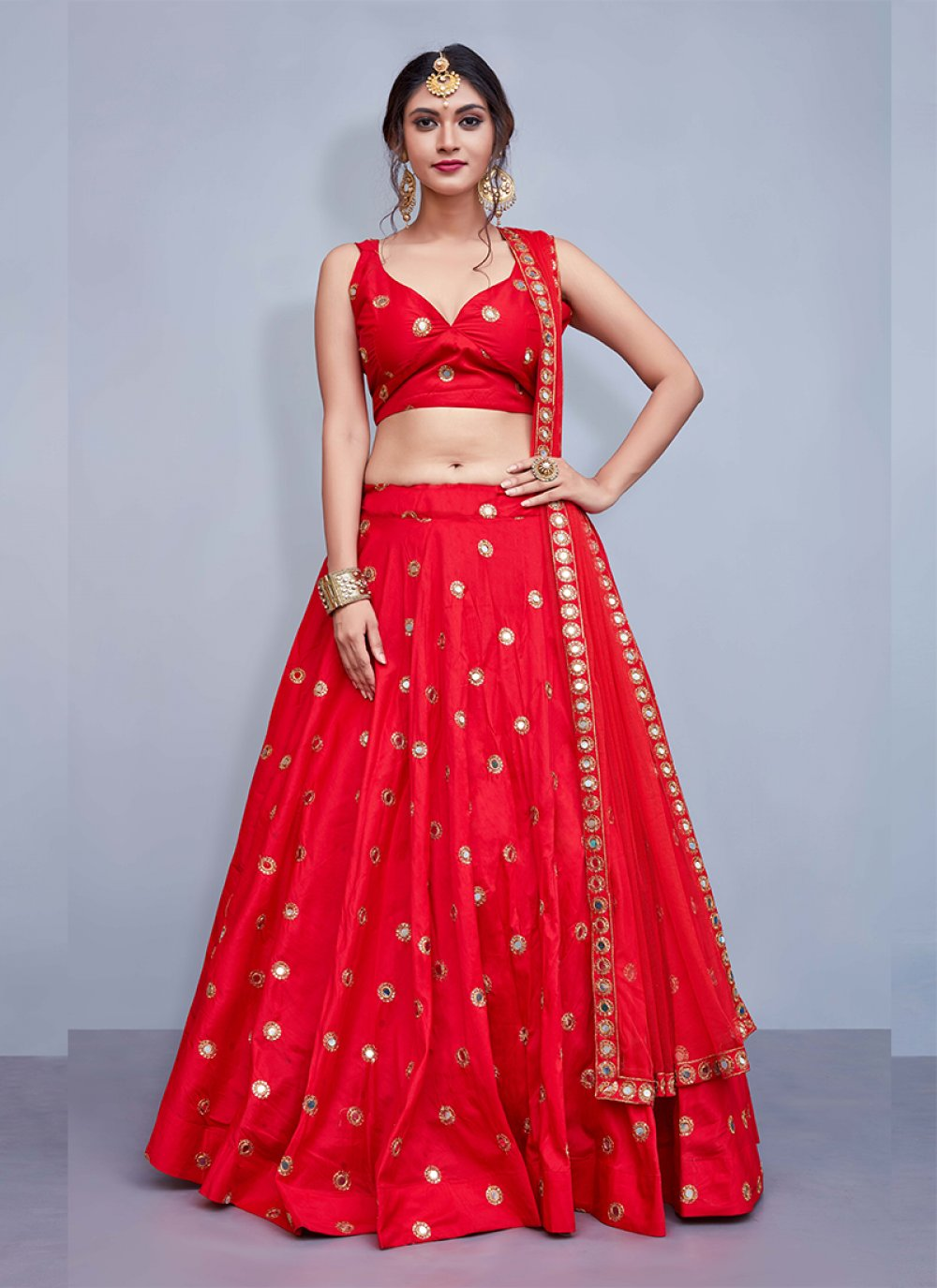 Tafeta silk Readymade Lehenga Choli in Red