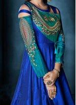 Tafeta silk Resham Floor Length Anarkali Suit