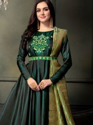Tafeta silk Resham Floor Length Anarkali Suit