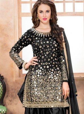 Tafeta silk Resham Work Designer Patiala Suit