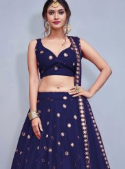 Tafeta Silk Sequins Readymade Lehenga Choli in Blue