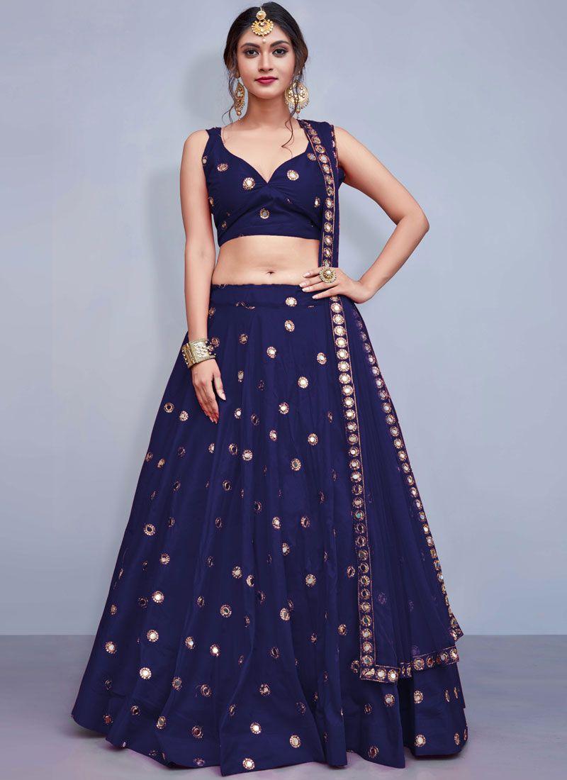 Tafeta Silk Sequins Readymade Lehenga Choli in Blue