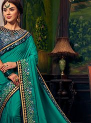 Teal Art Silk Festival Traditional Saree