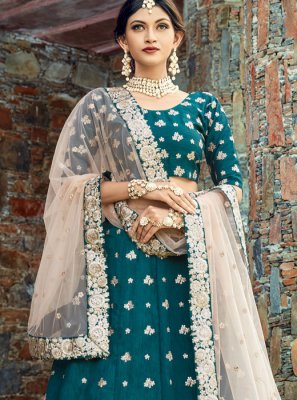 Teal Art Silk Lehenga Choli
