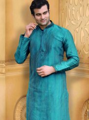 Teal Dupion Silk Plain Work Kurta Pyjama