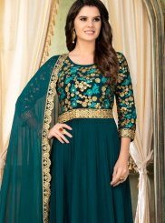 Teal Embroidered Faux Georgette Designer Salwar Kameez