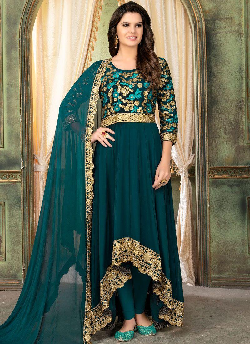Teal Embroidered Faux Georgette Designer Salwar Kameez