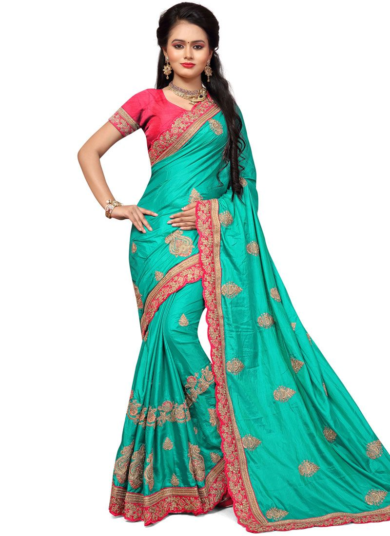 Teal Embroidered Work Silk Designer Traditional Saree